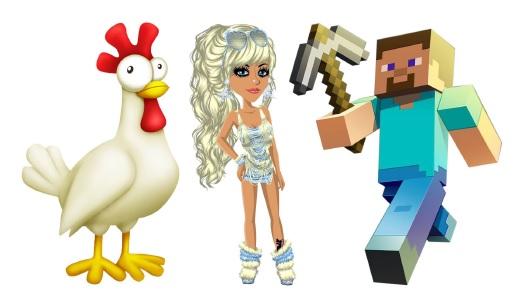 Faksimile av avatarer fra Hay Day, Moviestar Planet og Minecraft.